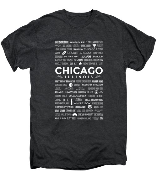 Places Of Chicago On Black Chalkboard Men's Premium T-Shirt