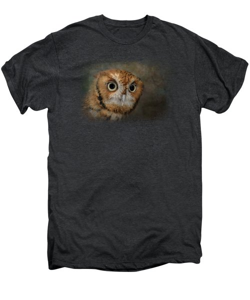 Portrait Of An Eastern Screech Owl Men's Premium T-Shirt by Jai Johnson