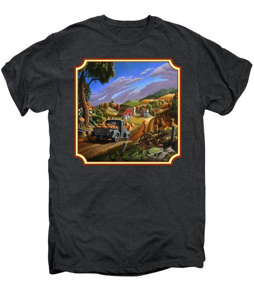 Pumpkins Farm Folk Art Fall Landscape - Square Format Men's Premium T-Shirt by Walt Curlee