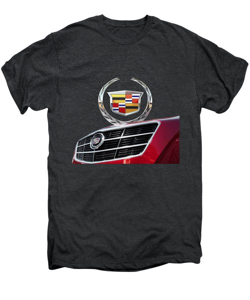 Red Cadillac C T S - Front Grill Ornament And 3d Badge On Black Men's Premium T-Shirt by Serge Averbukh