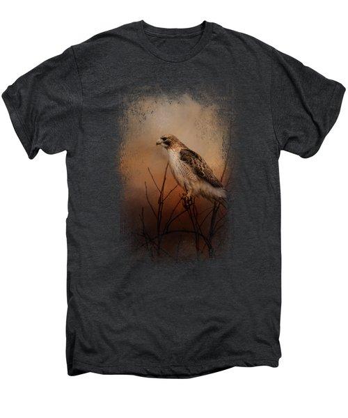Red Tail In Wait Men's Premium T-Shirt by Jai Johnson