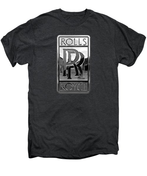 Rolls Royce - 3d Badge On Black Men's Premium T-Shirt by Serge Averbukh