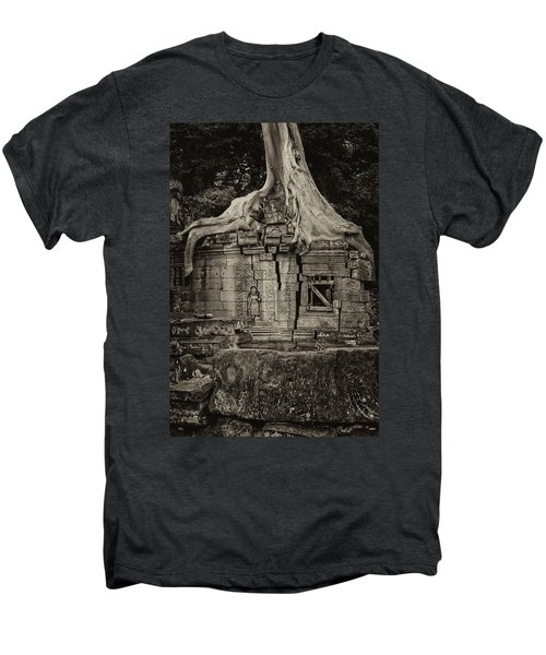 Men's Premium T-Shirt featuring the photograph Roots In Ruins 5, Ta Prohm, 2014 by Hitendra SINKAR