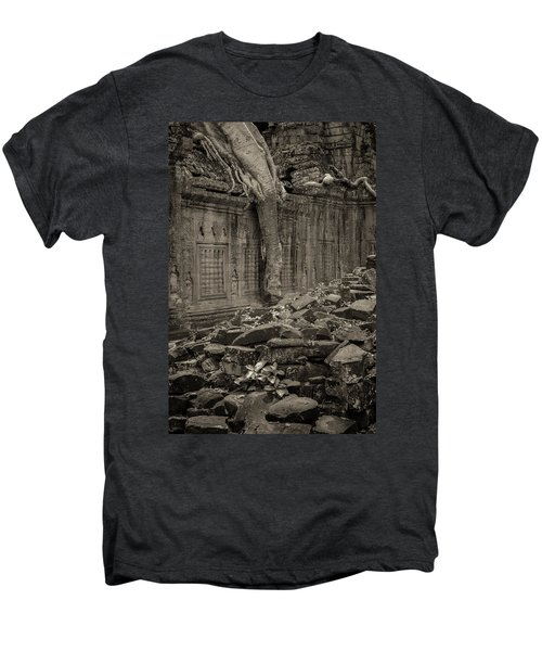 Men's Premium T-Shirt featuring the photograph Roots In Ruins 6, Ta Prohm, 2014 by Hitendra SINKAR