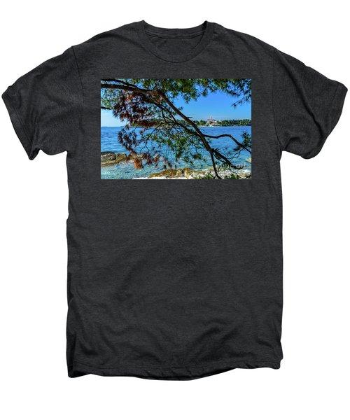 Rovinj Old Town Accross The Adriatic Through The Trees Men's Premium T-Shirt