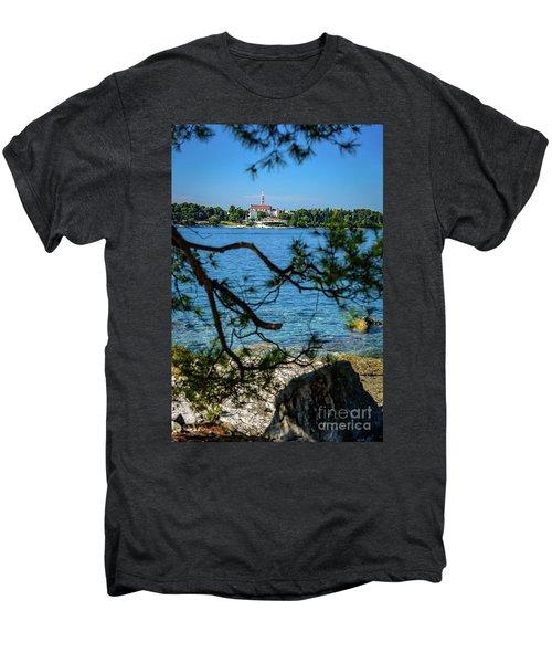 Rovinj Seaside Through The Adriatic Trees, Istria, Croatia Men's Premium T-Shirt