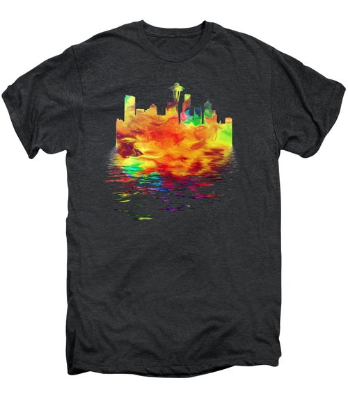 Seattle Skyline, Orange Tones On Black Men's Premium T-Shirt by Pamela Saville
