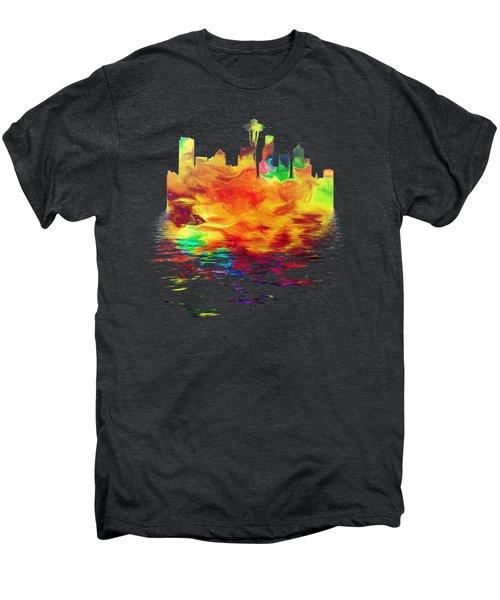 Seattle Skyline, Orange Tones On Black Men's Premium T-Shirt