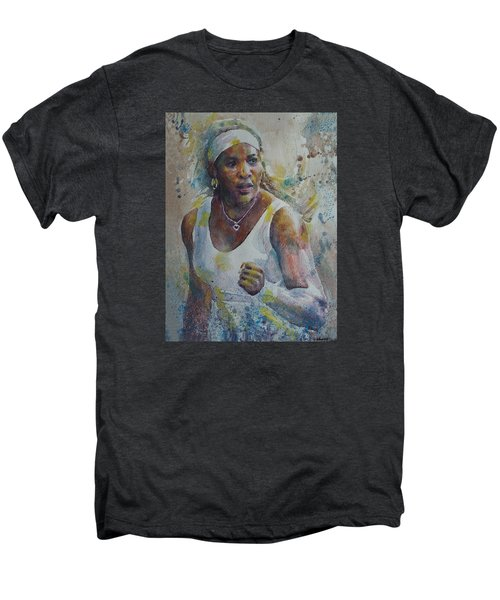 Serena Williams - Portrait 5 Men's Premium T-Shirt by Baresh Kebar - Kibar