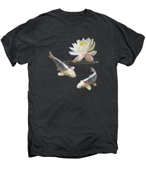 Silver And Red Koi With Water Lily Vertical Men's Premium T-Shirt by Gill Billington