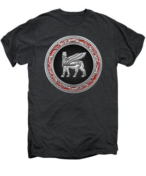 Silver Babylonian Winged Bull  Men's Premium T-Shirt by Serge Averbukh