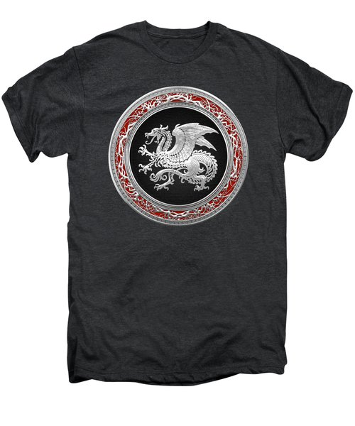 Silver Icelandic Dragon  Men's Premium T-Shirt by Serge Averbukh