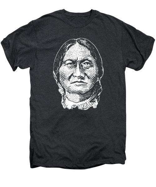 Sitting Bull Graphic - Black And White Men's Premium T-Shirt by War Is Hell Store
