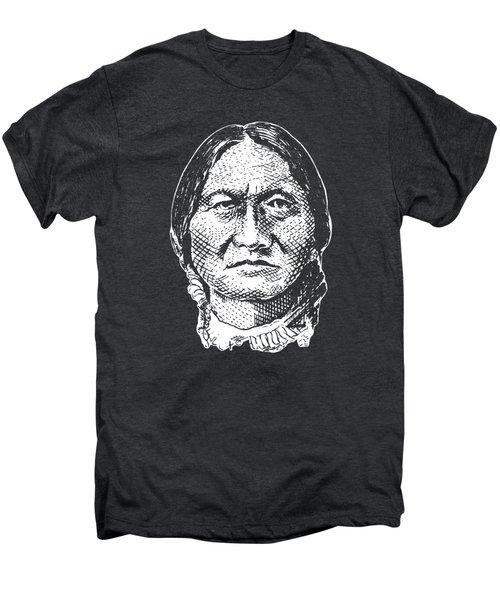 Sitting Bull Graphic - Black And White Men's Premium T-Shirt