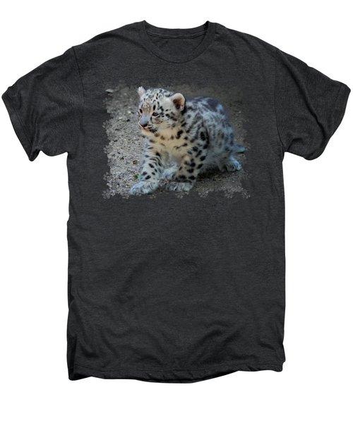 Snow Leopard Cub Paws Border Men's Premium T-Shirt