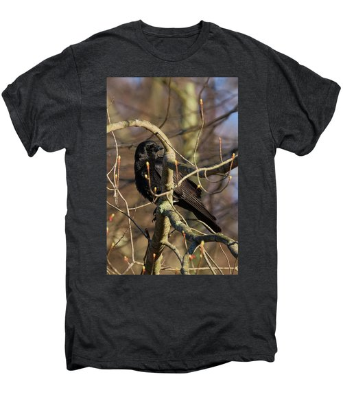 Men's Premium T-Shirt featuring the photograph Springtime Crow by Bill Wakeley