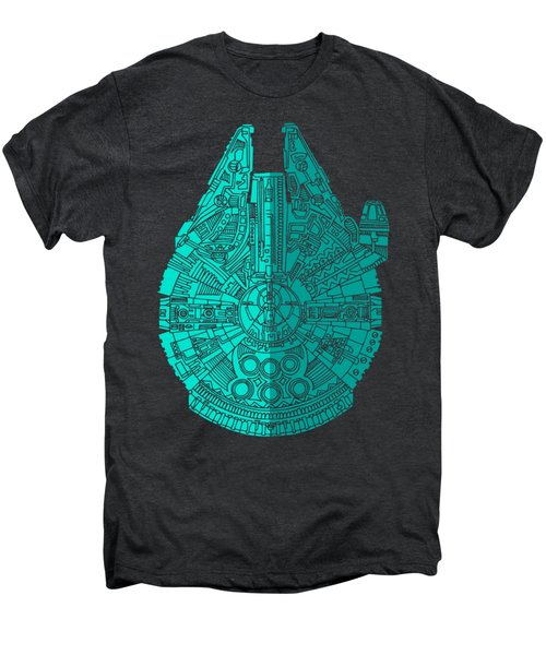 Star Wars Art - Millennium Falcon - Blue 02 Men's Premium T-Shirt