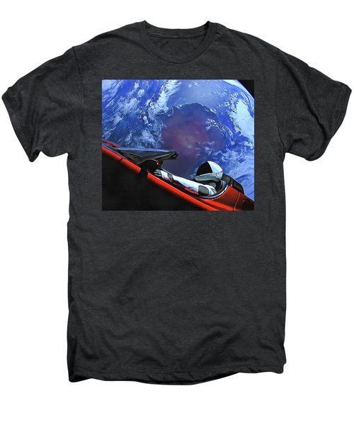 Starman In Tesla With Planet Earth Men's Premium T-Shirt