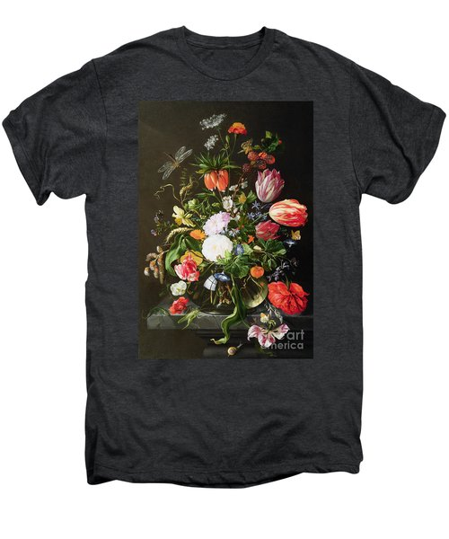 Still Life Of Flowers Men's Premium T-Shirt by Jan Davidsz de Heem