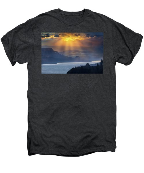 Sun Rays Over Columbia River Gorge During Sunrise Men's Premium T-Shirt