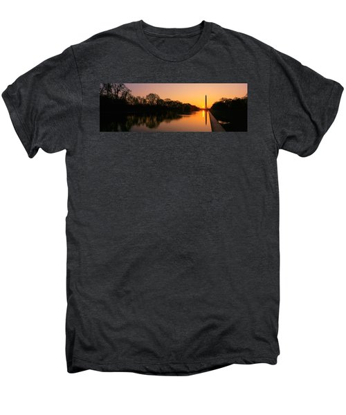 Sunset On The Washington Monument & Men's Premium T-Shirt by Panoramic Images