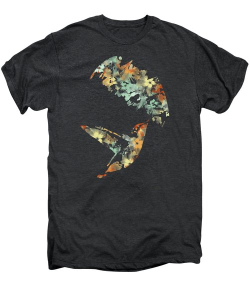 Floral Hummingbird Art Men's Premium T-Shirt