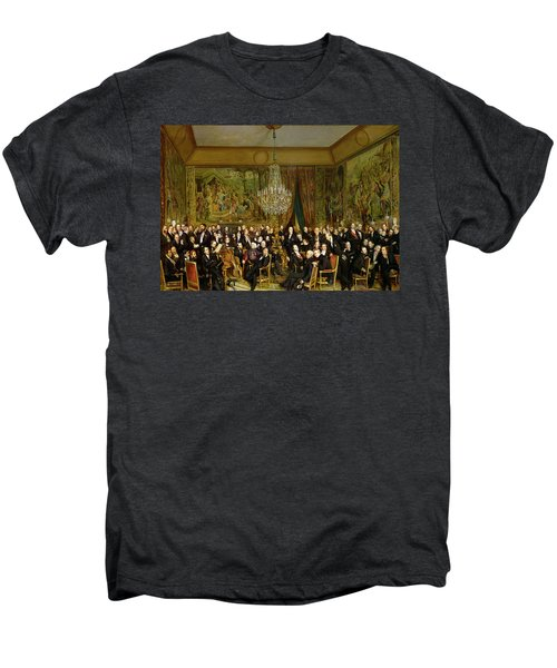 The Salon Of Alfred Emilien At The Louvre Men's Premium T-Shirt by Francois Auguste Biard