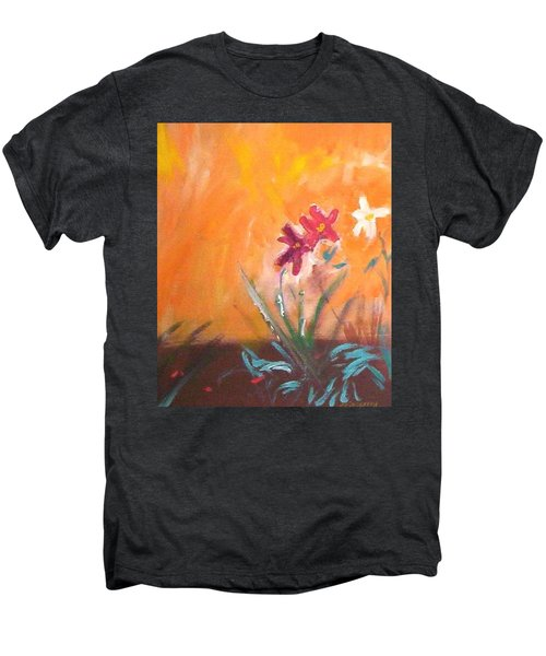 Men's Premium T-Shirt featuring the painting The Three Daisies by Winsome Gunning