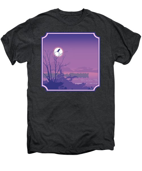 Tropical Birds Sunset Purple Abstract - Square Format Men's Premium T-Shirt