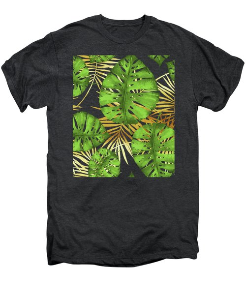 Tropical Haze Noir Green Monstera Leaves, Golden Palm Fronds On Black Men's Premium T-Shirt