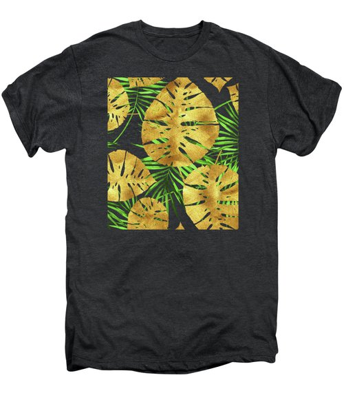 Tropical Haze Noir II Gold Monstera Leaves, Green Palm Fronds Men's Premium T-Shirt