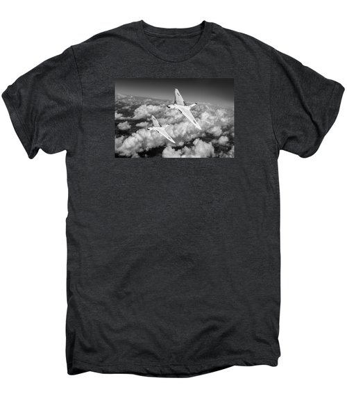 Men's Premium T-Shirt featuring the photograph Two Avro Vulcan B1 Nuclear Bombers Bw Version by Gary Eason