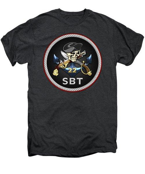 U. S. Navy S W C C - Special Boat Team 22  -  S B T 22  Patch Over Black Velvet Men's Premium T-Shirt