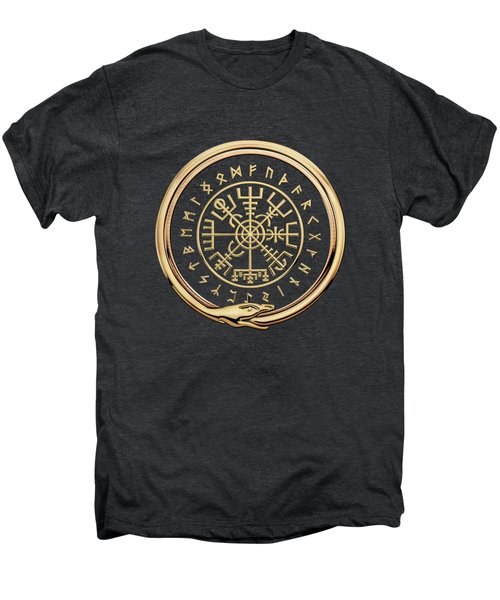 Vegvisir - A Magic Icelandic Viking Runic Compass - Gold On Black Men's Premium T-Shirt