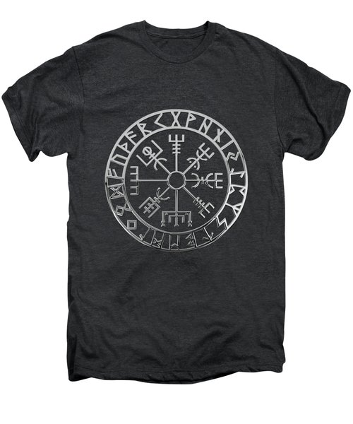 Vegvisir - A Magic Icelandic Viking Runic Compass - Silver On Black Men's Premium T-Shirt