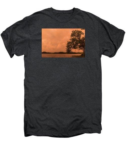 Strange Orange Sunrise With Rainbow Men's Premium T-Shirt by Gary Eason