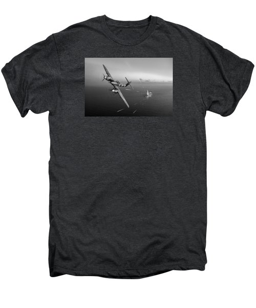 Men's Premium T-Shirt featuring the photograph Westland Whirlwind Attacking E-boats Black And White Version by Gary Eason