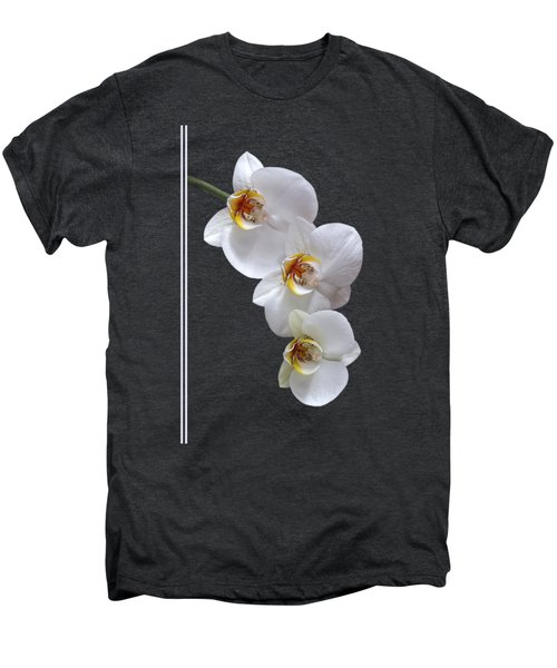 White Orchids On Black Vertical Men's Premium T-Shirt by Gill Billington