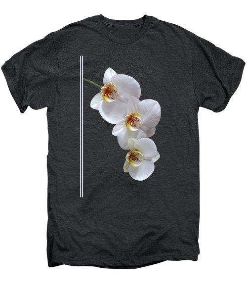 White Orchids On Black Vertical Men's Premium T-Shirt