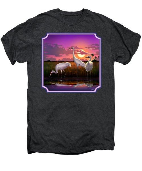 Whooping Cranes At Sunset Tropical Landscape - Square Format Men's Premium T-Shirt