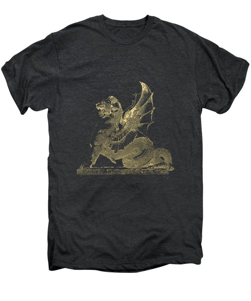 Winged Dragon Chimera From Fontaine Saint-michel, Paris In Gold On Black Men's Premium T-Shirt by Serge Averbukh