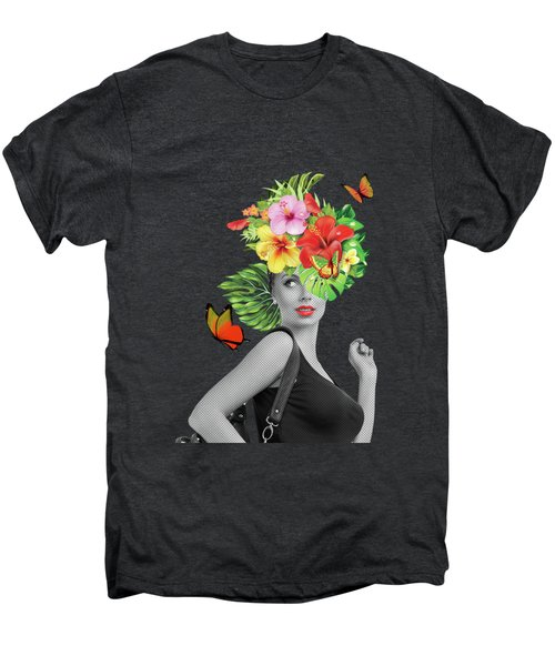 Woman Floral  Men's Premium T-Shirt
