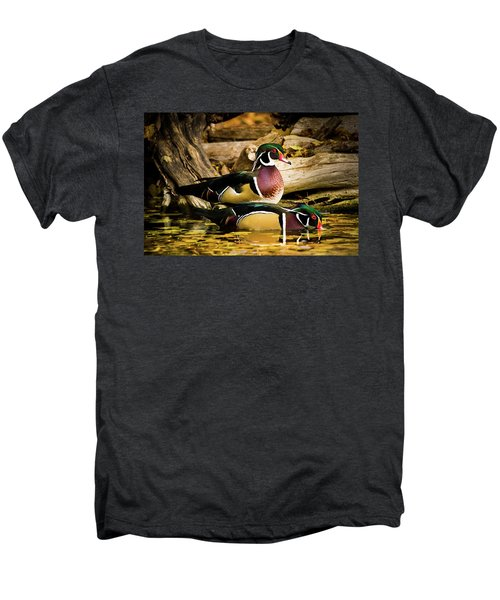 Wood Ducks In Autumn Waters Men's Premium T-Shirt