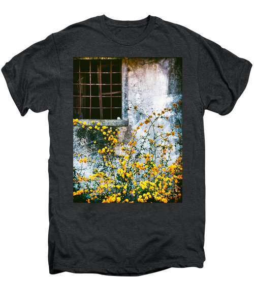 Men's Premium T-Shirt featuring the photograph Yellow Flowers And Window by Silvia Ganora
