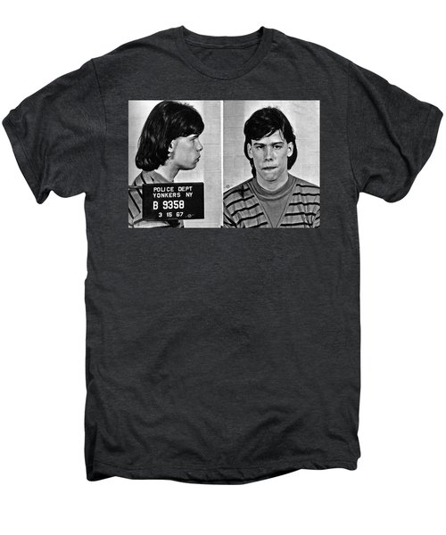 Young Steven Tyler Mug Shot 1963 Pencil Photograph Black And White Men's Premium T-Shirt by Tony Rubino
