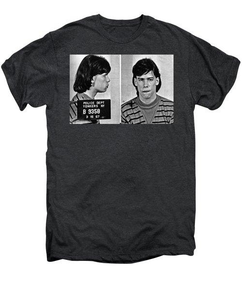 Young Steven Tyler Mug Shot 1963 Pencil Photograph Black And White Men's Premium T-Shirt