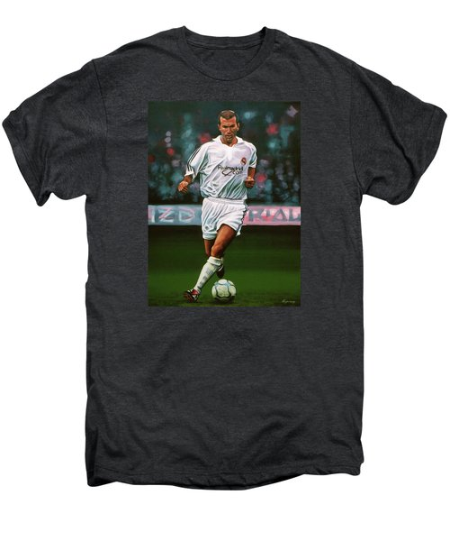 Zidane At Real Madrid Painting Men's Premium T-Shirt by Paul Meijering
