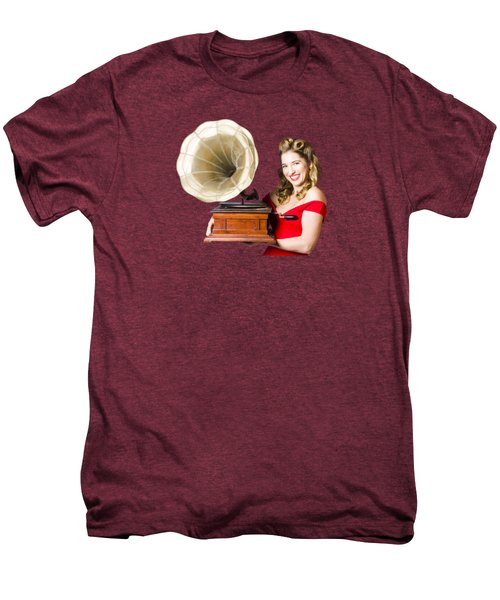 Beautiful Woman With Gramophone Isolated On White Men's Premium T-Shirt by Jorgo Photography - Wall Art Gallery