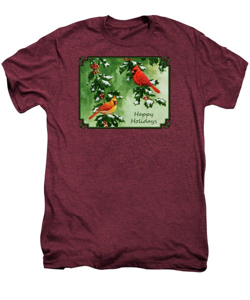 Cardinals Holiday Card - Version With Snow Men's Premium T-Shirt by Crista Forest