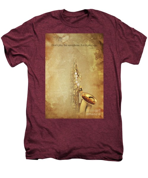 Charlie Parker Saxophone Brown Vintage Poster And Quote, Gift For Musicians Men's Premium T-Shirt by Pablo Franchi